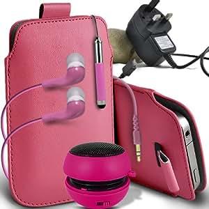ONX3 Htc desire 500 Leather Slip cuerda del tirón de la PU de protección en la bolsa del lanzamiento rápido con Mini capacitivo Retractabletylus Pen, 3.5mm en auriculares del oído, mini altavoz recargable Cápsula, Micro USB CE aprobó 3 Pin Cargador (Baby Pink)