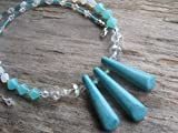 Turquoise Blue Magnesite Necklace, 17-18.5 inch Fire Polished Czech Crystal Necklace, Color Block Necklace, Sterling Silver, Blue & White Necklace, Handmade in the USA