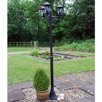 Traditional 2m black 3 way outdoor garden lamp post light amazon traditional 2m black 3 way outdoor garden lamp post light aloadofball Gallery