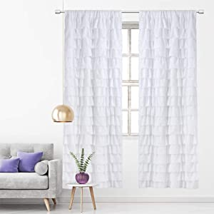 WestWeir White Ruffle Curtains - Set of 2,Girls Living Room 96 inches Length,Farmhouse Textured Curtain for Nursery,Baby,Kids,Teen,Toddler, Gypsy Ruffled Window Panels