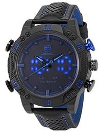 SHARK Men's Sport Blue LED Date Day Display Digital Analog Quartz Black Leather Band Oversized Wrist Watch SH265