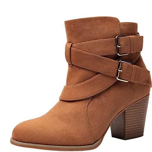 Luoika Women's Wide Width Ankle Boots - Buckle Strap Block Heel Side Zipper Plus Size Booties.(180615,Brown,8WW) ()