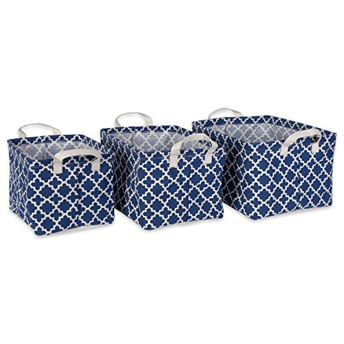 DII Cotton/Polyester Cube Laundry Basket, Perfect In Your Bedroom, Nursery, Dorm, Closet, Assorted Small Set of 3 - Nautical Blue Lattice (Nursery Baskets Blue Three)