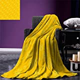 smallbeefly Yellow Custom printed Throw Blanket Sun Solar Hand Drawn Style Pattern with Little Spiral Spots Like Hot Summer Day Inspired Velvet Plush Throw Blanket Yellow