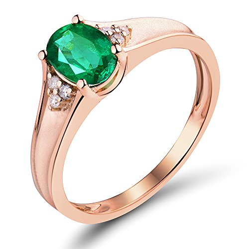 Real 14K Rose Gold Oval 5X7mm Genuine Natural Emerald Engagement Diamond Ring