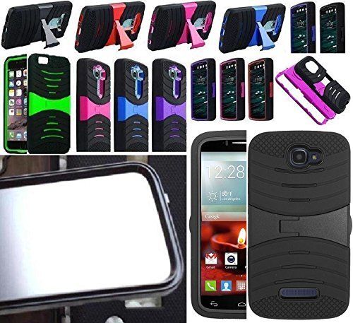 [ NP ARMOR ] Built in Screen Guard Protector Faceplate Phone Cover Case for Alcatel One Touch Pop Icon / A564C, Alcatel One Touch Fierce 2 / 7040T 7040N OT7040T (uBLACK/Blue)