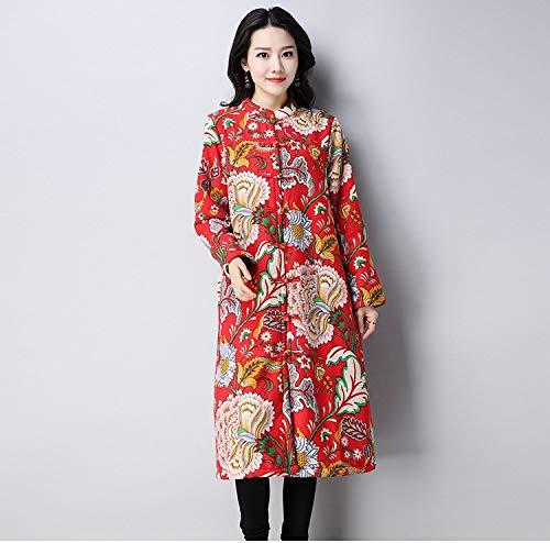 National En Grande Imprimées De Nouveau Femmes Taille Coton Pour Red Épais Vitila Peony Manteau Et Lin q85wtt