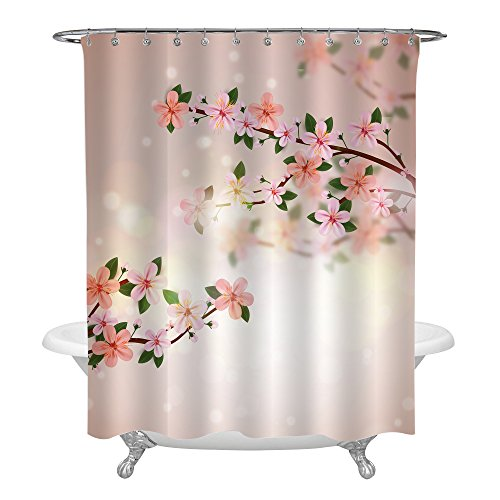 (MitoVilla Realistic Florals Shower Decorations, Stylish Pink and Peach Cherry Blossom and Tree Braches Shower Curtain Set with Hooks, Peach Color Fabric, Lightens Your Bathroom, 72 x 72 inches)