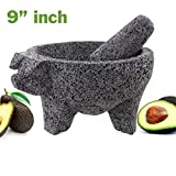 Molcajete Pig Head Black Lava Stone 9'' Mortar Pestle Bowl Tool Preseasoned New