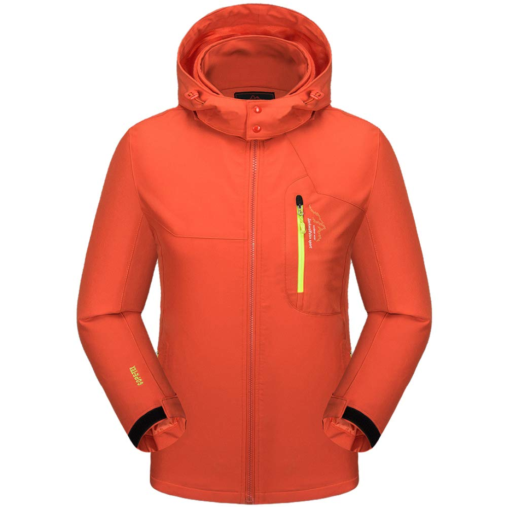 Waterproof Jackets Windproof Mens Warm Soft Lining Coats Hood,Orange-6XL-Chest:48.8(124cm) ZYYMF