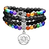 Top Plaza 108 Mala Prayer Beads Natural Lava Rock Stone Essential Oil Diffuser Bracelet Necklace 7 Chakra Healing Crystals Yoga Meditation Stretch Bracelets