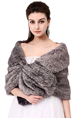 Silver Fur (Poplarboy Women's Party Evening Wedding Fur Wraps and Shawls for Women Bridal Fur Stole Silver Grey)