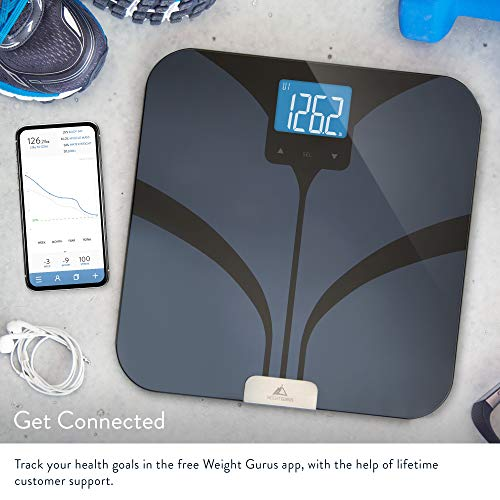 Bluetooth Smart Scale by GreaterGoods, Secure Solution for your Weight Gurus Data, Bluetooth Scale with BMI, Body Fat, Muscle Mass, Water Weight, and Bone Mass, Large Backlit Display