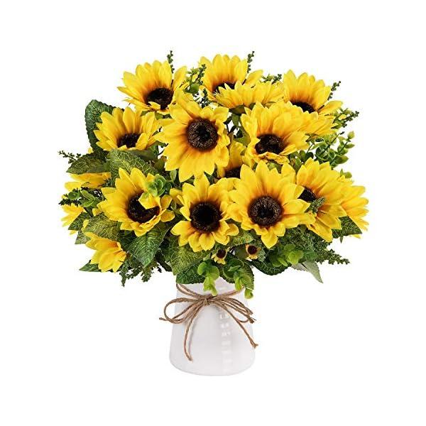 Artificial Sunflower Bouquet, Silk Sunflower Artificial Sunflower with Stems Leaves Artificial Sunflowers Bundles Fake Sunflower for Wedding Bridal Party Garden Home Decor