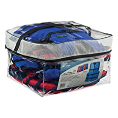 4 vests, Packed in a clear, mesh vented, full zipper, reuseable storage bag, with nylon carry strap