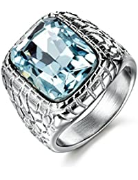 Anti Allergy 316L Stainless Steel Ring Man Synthetic Aquamarine Crystal Engagement Wedding Jewelry