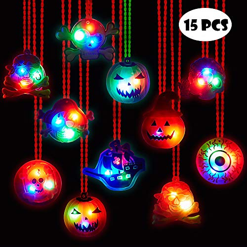 BUDI 15Pc Halloween LED Necklaces Party Favors For Kids and Adults with Gift Package Halloween Light up toys Treat Bag Fillers