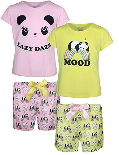 Sleep On It Girls' 4-Piece Summer Pajama Sleepwear Shorts Set, Yellow/Pink Panda, Size 14-16]()