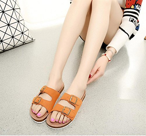 Womens Ladies Leather Flat Soft Footed Keen Slippers Athletic Sandals Orange kar4CHM