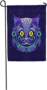 "Semtomn 12""x 18"" Garden Flag Alice Applique with The Head of Cheshire Cat from Fairy Tale Animal Badge Black Home Outdoor Decor Double Sided Waterproof Yard Flags Banner for Party"