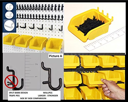 Locking Pegboard Hook (WallPeg 43 Pc Kit Pegboard Storage System - Pegboard Hook Assortment with New Larger Pegboard Bins)