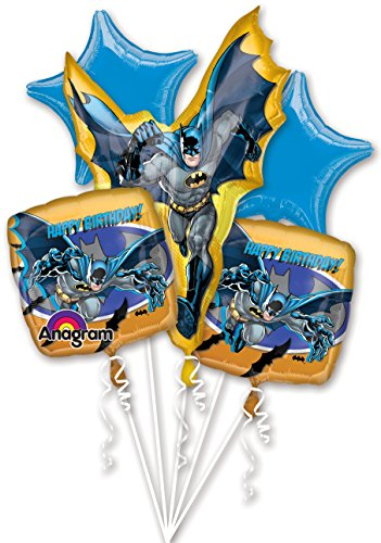 Batman Birthday Balloon Bouquet - 5 Batman Balloons -
