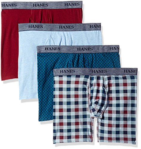Hanes Ultimate Men's 4-Pack FreshIQ Stretch Boxer with ComfortFlex Waistband Brief, Assorted Print Medium
