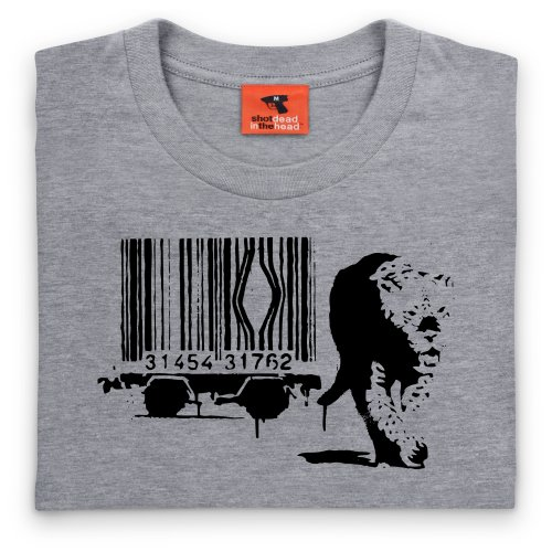 Uomo Leopard shirt Banksy Mlange Grigio Shotdeadinthehead T nq5UwI