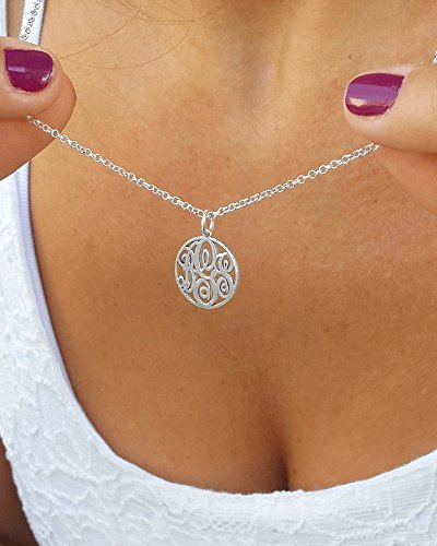 Amazon 1 2 3 initials circle monogram initial necklace 1 2 3 initials circle monogram initial necklace personalized monogram 925 sterling silver aloadofball Images