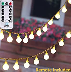 MineTom UL Listed 36 feet Crystal Ball 100 LED Globe String Lights with Remote & Timer, Warm White