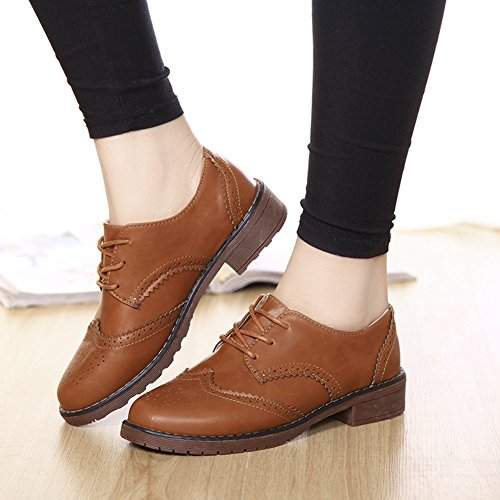 Women's Heel Lace Oxfords Up Mid British Shoes Carving Brown Flat Style ww5rAqB