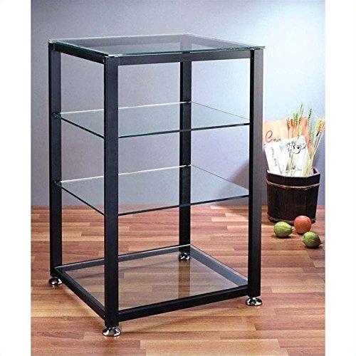 VTI EGR404 4 Shelf Black Audio Cabinet/Rack - Silver (4 Glass Shelf Audio Rack)