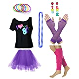 TDmall Clothing Series Women's I Love The 80's T-Shirt 80s Outfit accessories (M/L, Purple)