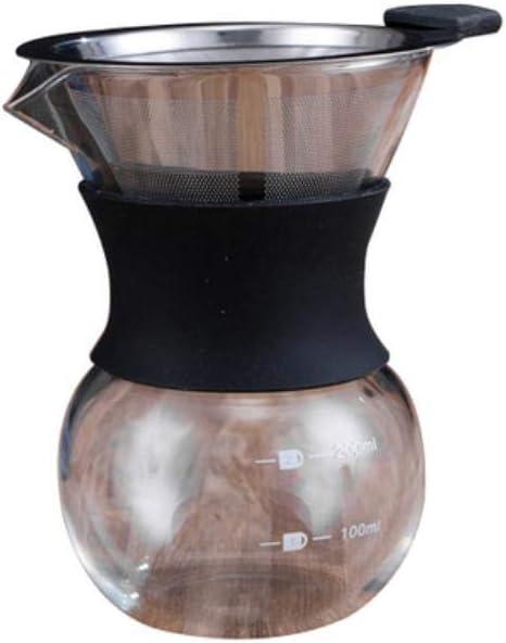 yamybox Cafetera de Vidrio V60 con Filtro de Acero Inoxidable ...