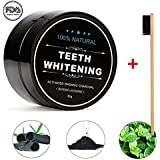 Charcoal Teeth Whitening Powder, Natural Activated Organic Charcoal Teeth Whitening Powder, Oral Care Set, with 1 Bamboo Toothbrush