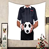Grace Little Custom tapestry photo of a football or soccer referee holding a ball and whistle red and yellow cards in his