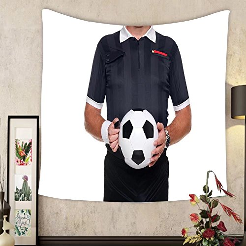 Grace Little Custom tapestry photo of a football or soccer referee holding a ball and whistle red and yellow cards in his by Grace Little