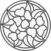 Brewster 99767 Peel & Stick Pansy Medallion Stained Glass Appliqué, Clear