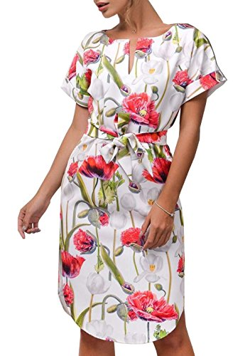 CoCo fashion Women's Casual V-Neck Floral Print Side Split Short Sleeve Belted Summer Dress (Red, Medium)