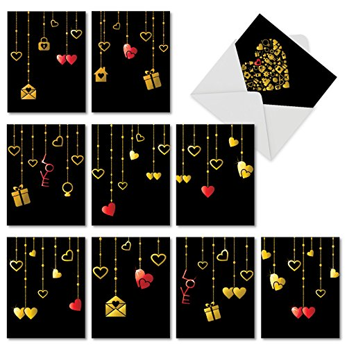 Box Set of 10 Hanging Hearts Valentines Day Card With Beautifully Printed Illustrations Designed to Look Like Shining Golden Pendants (Not Foil), with Envelopes M5653VDG-B1x10