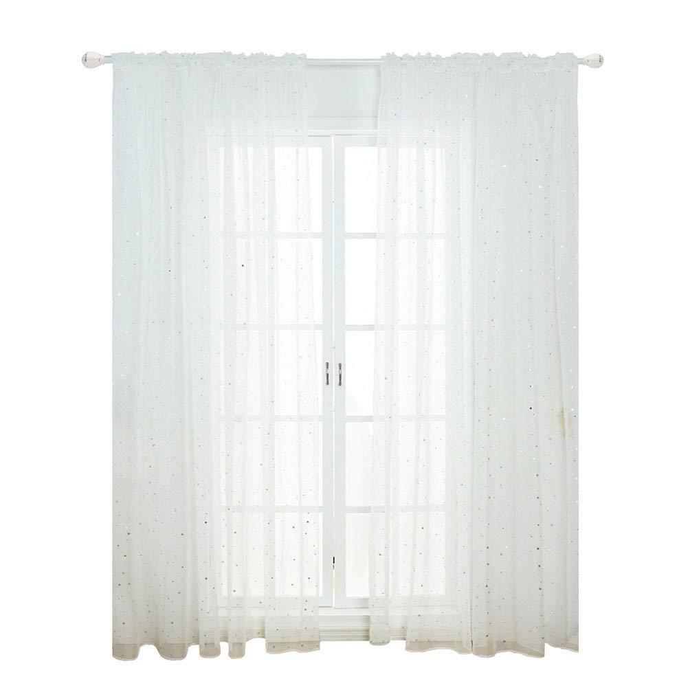 100 x 200cm - Bianco Star Tulle Tenda Del Voile Finestra Pannello Drappo Divisorio Sciarpa Pratico Nuovo 100 x 200cmWhite