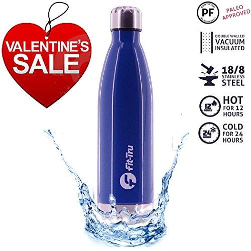 Ultra Cold Water Bottle | Best Insulated Water Bottle with Spill Proof Lid | Double Wall Vacuum Insulated Stainless Steel Copper Lined BPA Free Reusable (Single 25oz, Blue)