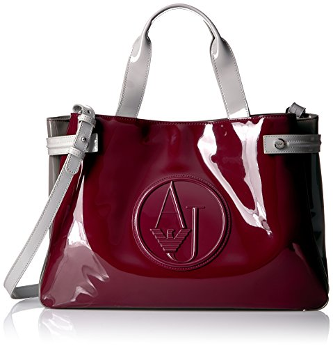 Bag Leather Patent Shopper (Armani Jeans Color Blocked Eco Patent Shopper, Burgundy/Taupe/Gr.Ch)