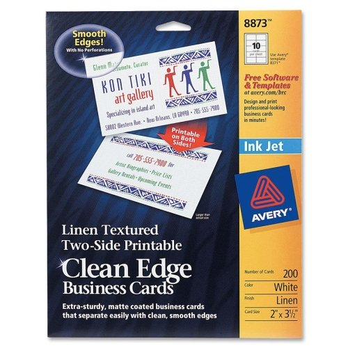 Wholesale CASE of 10 - Avery Linen Textured 2-sided Clean Edge Bus. Cards-Inkjet Business Cards, 2-Side, Linen, 200/PK, White