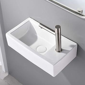 Vesla Home Commercial 18 X10 Small White Ceramic Corner Wall Mount Bathroom Sink Floating Tiny Porcelain Wall Hung Bathroom Sink Mini Rctangular Vanity Vessel Sink For Small Bathroom Right Hand Amazon Com
