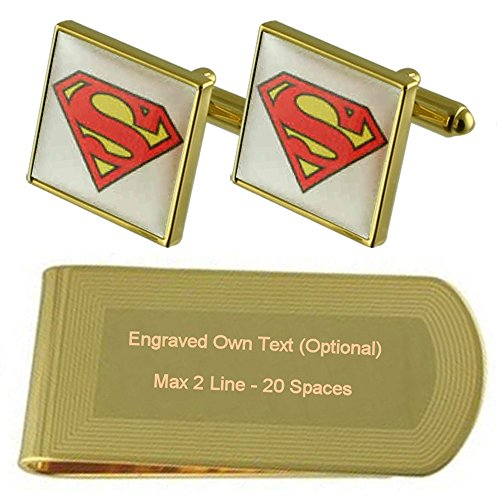 Cufflinks Engraved Superman Gold Superman Gift tone tone Clip Set Money Gold q8CBXEw