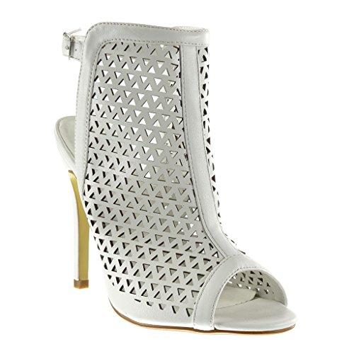 Angkorly - damen Schuhe Sandalen Stiefeletten - Stiletto - Peep-Toe - knöchelriemen - Perforiert Stiletto high heel 12.5 CM - Weiß