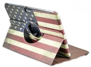 DE Retro Old Classic Style American Flag Rotating PU Leather Holster With Credit Card Slot Stand Case Cover Shell for Samsung Galaxy Note 10.1 N8000