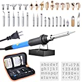 ETEPON 37-in-1 Wood Burning & Soldering Iron Kit For Pyrography, Incl Adjustable Temperature Soldering Wood burning Pen,Portable Soldering & Wood Burning Tips, Stencil, Converter, Stand(ET005)