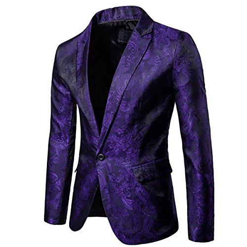 Cloudstyle Mens Slim Fit Paisley Suit Party Suit Jacket One Button Jacquard Sport Coat Purple